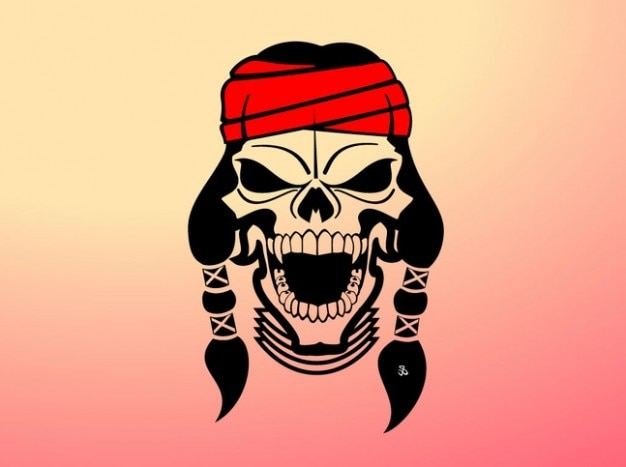 Native american head band skull vector