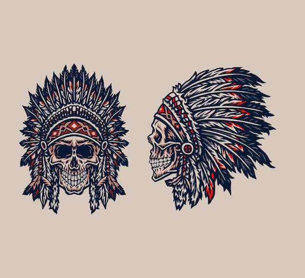 Native american indian chief skull, hand drawn line style with digital color