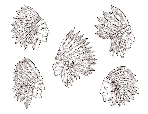 Native american indian chiefs with feathers
