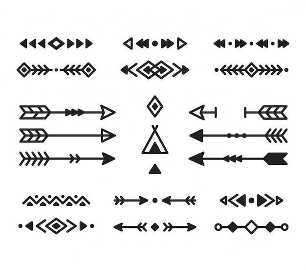 아메리카 원주민 인디언 디자인 요소 집합입니다. 테두리, 화살표, 장식품 및 기타 기호. 현대 기하학적 스타일의 부족 요소.