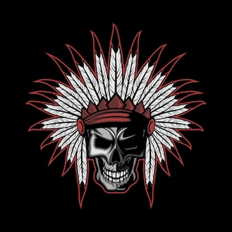 Native american indian feather skull