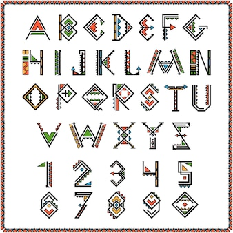 Native american indian font or mexican alphabet with numbers.