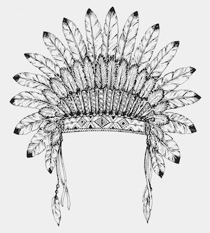 スケッチスタイルの羽を持つネイティブアメリカンインドのヘッドドレス。