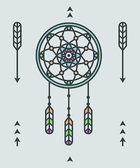 Deamcatcher와 화살표 요소 벡터 일러스트와 함께 아메리카 원주민 인디언 장식