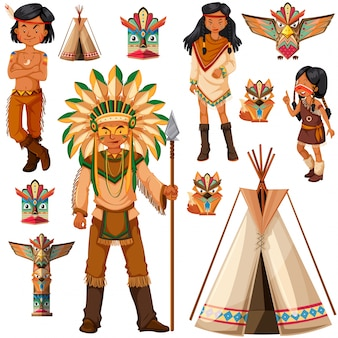Native american indian people and tepee illustration