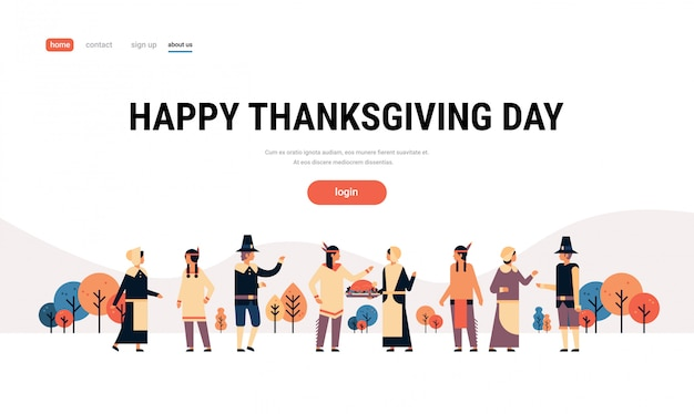 Native american indian people thanksgiving day celebrating banner