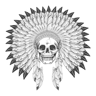 Native american indian skull with headdress