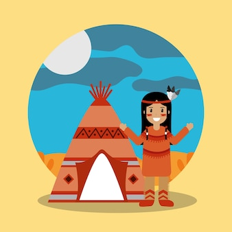 Native american indian standing teepee landscape