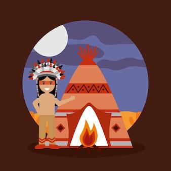 ネイティブアメリカンインディアンティーピーの焚き火と夜の風景
