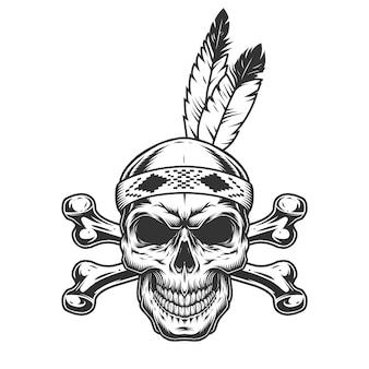 Cranio di guerriero indiano nativo americano