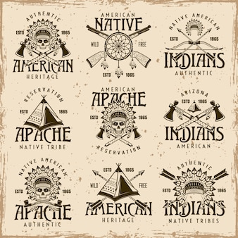 Native american indians, apache tribe set of vector brown emblems