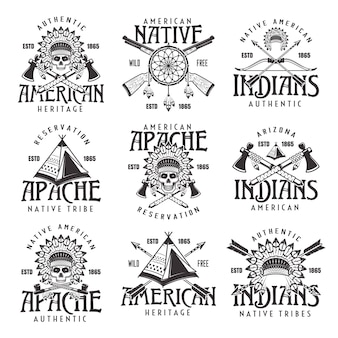 Native american indians, apache tribe set of vector vintage emblems