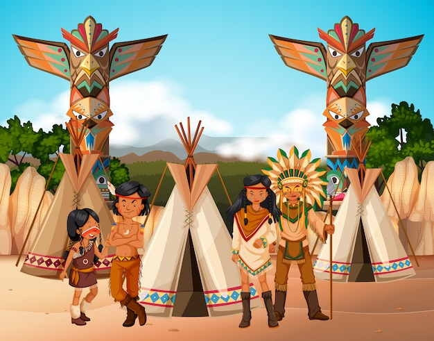 Native american indians at camp site