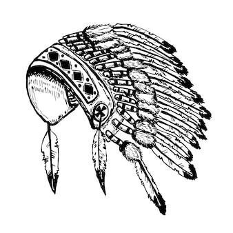 白い背景の図のネイティブアメリカンインディアンチーフヘッドドレス