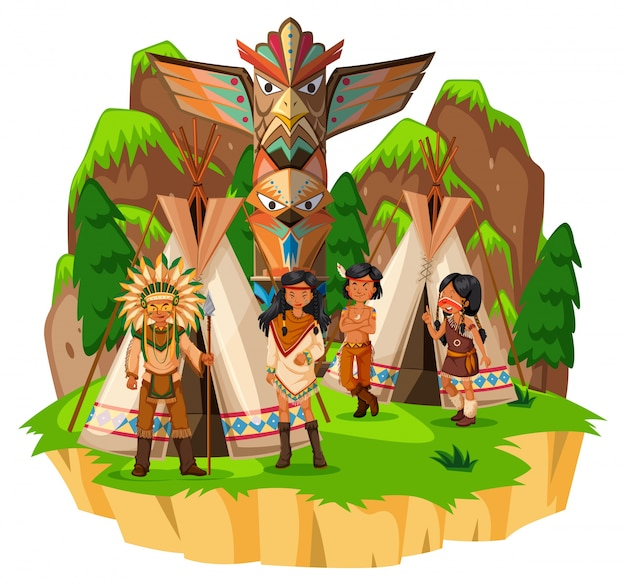 Native american indians at their tents