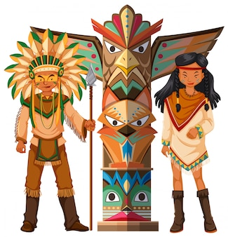 Native american indians and totem pole