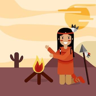 Native american kneeling