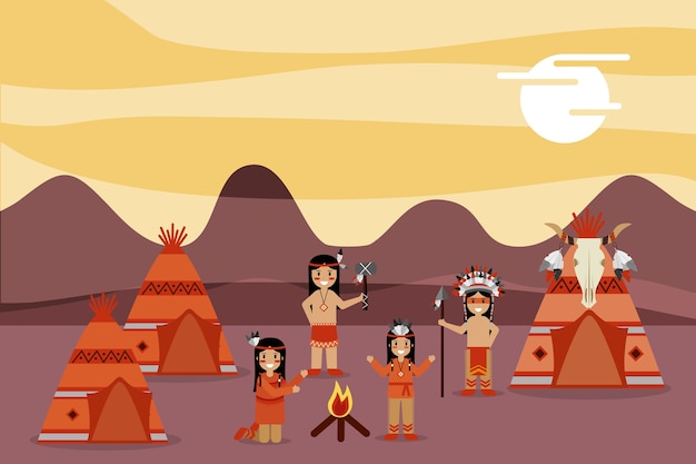 Native american people in housing campsite mountains