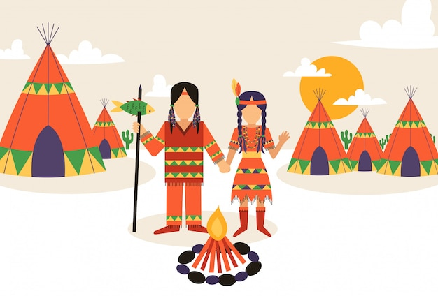 Native american settlement, man and woman in traditional clothes with ethnic ornament,