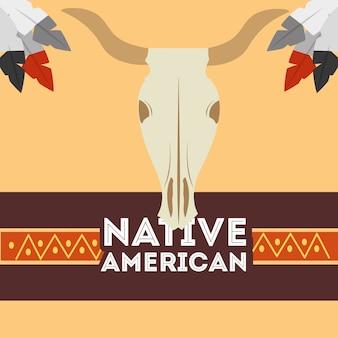 Native american skull buffalo tribal ethnic