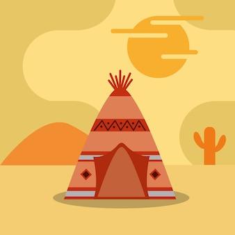 砂漠のサボテンの日没のネイティブアメリカンテント