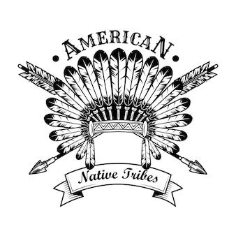 Иллюстрация вектора аксессуаров коренных американцев племени. головной убор из перьев, скрещенные стрелки, текст. коренные американцы и красные индейцы концепция эмблем или шаблонов этикеток