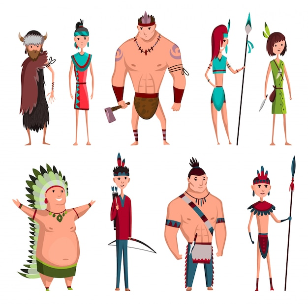 Native american tribe members in traditional indian clothing with weapons and other cultural objects illustration