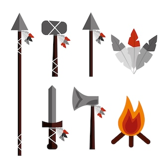 Native american weapons tools icons set