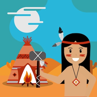 Native american with tomahawk in hand teepee bonfire