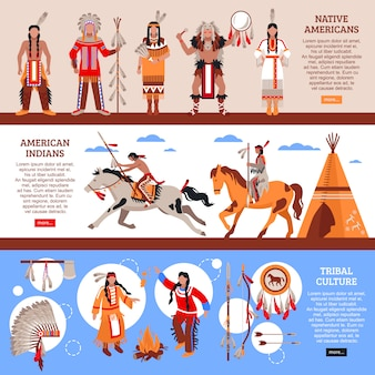 Native americans horizontal banners