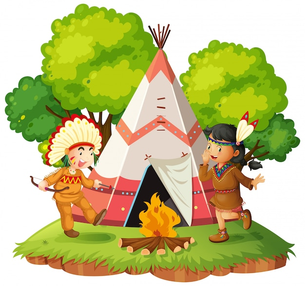 Native americans nect to teepee