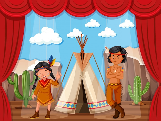 Native americans roleplay on stage