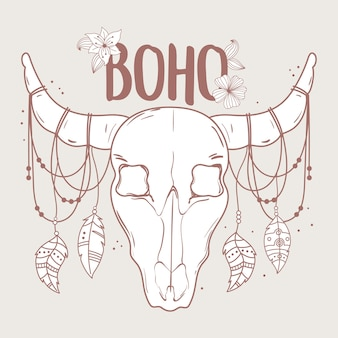 Native bull skull with feather and flower boho and tribal  illustration