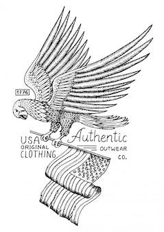 ネイティブイーグルアメリカン。野鳥。古いラベルとバッジ。古いスケッチで描かれた刻まれた手。アメリカのシンボル、愛国者の旗。