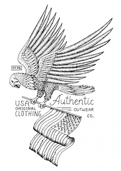 Native eagle american. wild bird. old label and badge. engraved hand drawn in old sketch. usa symbol, flag of patriot.