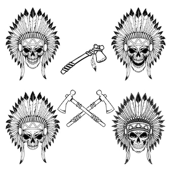 Native indian chief skull with crossed tomahawks