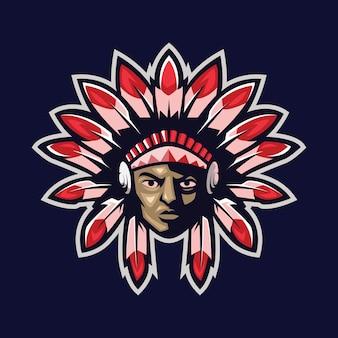 ネイティブインディアンの頭