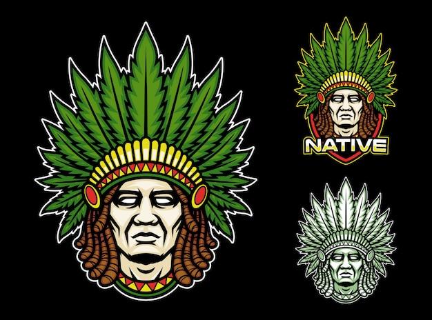 Native indian with dreadlock mascot logo