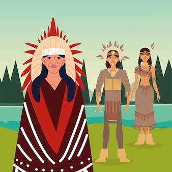Native indigenous men and woman
