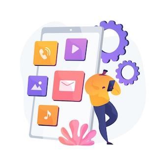 ネイティブモバイルアプリの抽象的な概念図。スマートフォンアプリケーション、プログラミング言語、オペレーティングシステム、オンラインストア、マーケットプレイス、webブラウザー、ソフトウェア