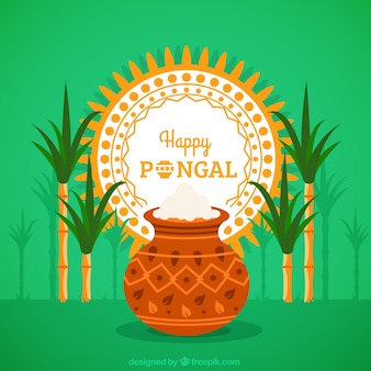 Native pongal rice pot background