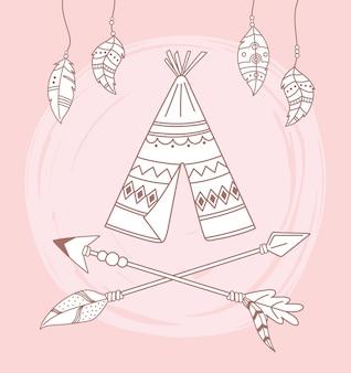 네이티브 천막 화살표와 깃털 boho 및 부족 그림
