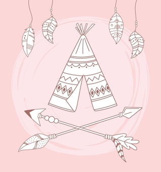 Native teepee arrows and feathers boho and tribal  illustration