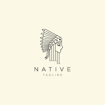 Native women with line style logo icon design template   illustration