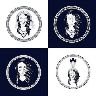 ネイティブアメリカンの女性のイラストセット