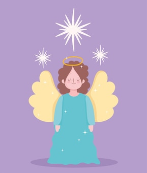 Nativity, cute angel and stars cartoon character vector illustration