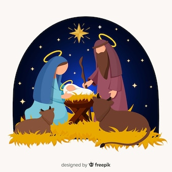 Nativity flat illustration