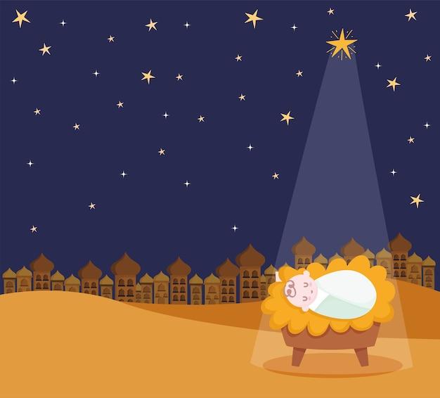 Nativity, manger baby jesus star and light cartoon   illustration