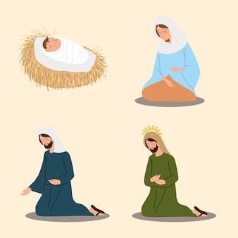 キリスト降誕の飼い葉桶のキャラクターメアリージョセフ赤ちゃんイエスアイコンベクトルイラスト