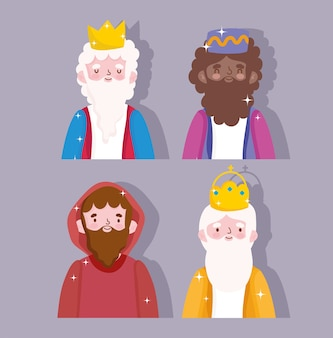 Nativity, manger characters wise kings and joseph cartoon